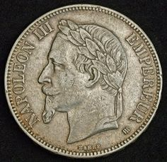 French Coins 5 Francs Silver Coin of 1869, Emperor Napoleon III. French coins, collection of French coins, Coins of Europe, French Coinages, French Money and Coins, European Coins, Collecting the Coins of France, Best Silver Coins for Investment, Collectable Coins‎, Rare collector coins from all over the World.