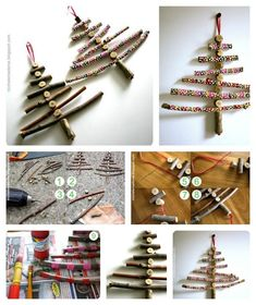 Xmas Twig Decor - Hanging Tree Ornaments | 16 Wintry Christmas Decorations Made From Twigs