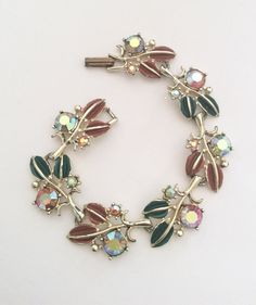 Enamel Rhinestone Bracelet Vintage Jewelry by OurBoudoir on Etsy