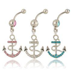 New Rhinestone Anchor Dangle Button Barbell Belly Navel Ring Bar Body Piercing #FashionChic