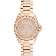 MICHAEL KORS WATCHES MK5613 Blair glitz watch ($335) ❤ liked on Polyvore featuring jewelry, watches, accessories, bracelets, rose gold, stainless steel watches, chrono watches, stainless steel wrist watch, stainless steel jewellery and michael kors