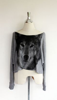 Wolf sweatshirt,Wolf sweater,Wolf Printed on Pullover Oversize style Bat Style Half Body In Gray. $23.99, via Etsy.