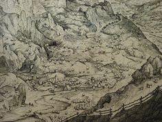 "BRUEGEL Pieter I (d'Après),1555 - Grand Paysage Alpestre, Estampe de Van Doetecum (Custodia) - Detail 21 - TAGS/ drawings dessins ""dessins 16e"" ""16th-century drawings"" ""dessin hollandais"" ""Dutch drawings"" ""peintres hollandais"" ""Dutch painters"" ""peintres hollandais"" Paris France ""Peter Brueghel l'Ancien"" landscape view panorama route road arbres tree trees maisons house colline hill mountain montagne animal animals animaux figures people valley vallée cheval horse cavalier rider Paris France, Vintage World Maps, Artwork, Printmaking, Horse, Landscape, Drawing Drawing, Work Of Art, Auguste Rodin Artwork"