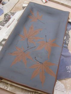 glaze over leaves and lift up leaves, from Gary Jackson's Fire When Ready Pottery