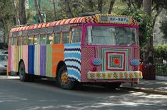 In this crocheted masterpiece, artist Maga Sayeg yarn bombs an entire bus in Mexico City. Considered to be the mother of yarn bombing, Magda did her first solo exhibit in Rome at La Museo des Esposizione in the summer of 2010. She continues to lead community-based projects and works on commissions around the world with companies Absolut Vodka, Madewell, Insight 51, Mini Cooper, and others  shows at Milan's Triennale Design Museum, Le M.U.R. in Paris, National Gallery of Australia, among others.