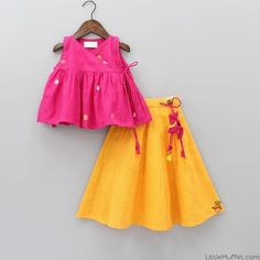 Pre Order: Pink Angrakha Style Wrap Up Top And Yellow Lehenga