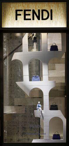 ~The Fendi window theme 'Traces of Palazzo della Civiltà Italiana' at the Milan boutique | House of Beccaria#