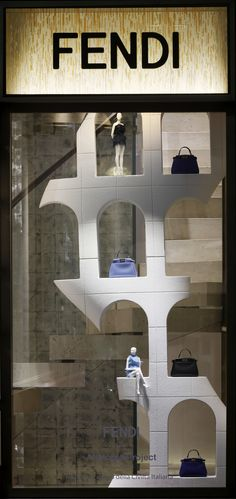 The Fendi window theme 'Traces of Palazzo della Civiltà Italiana' at the Milan boutique