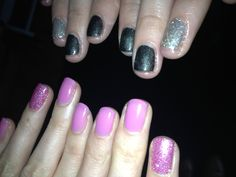 Sisters manis, leading lady and my inspiration, glitter, red carpet manicure, pink, grey, nail, gel nails, soak off varnish