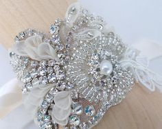 Couture Crystal And Lace Beaded Bridal Cuff by AGoddessDivine
