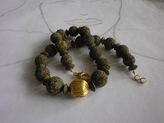 Ketten mittellang - Collier Goldlava - ein Designerstück von sibea bei DaWanda