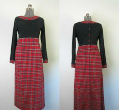 Vintage Christmas Plaid Dress / Susan Bristol by rileybellavintage
