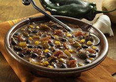 Roasted Poblano, Corn and Black Bean Chili.  Quick Bean Recipes, Healthy Bean Recipes, Easy Chili Recipes