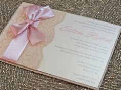 GRACY: Pink Lace Baptism Invitation by peachykeenevents on Etsy