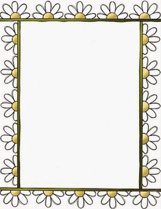 Daisies: Free Printable Frames, Borders and Labels. Frame Border Design, Boarder Designs, Page Borders Design, Page Borders Free, Printable Border, Printable Frames, Free Printable Invitations, Free Printables, Doodle Borders