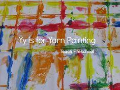 Yy is for yarn painting by Teach Preschool : A super cool idea!