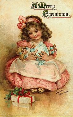 Young Victorian Girl with Dolly Christmas Card