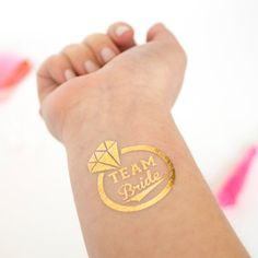 Team Bride Gold Temporary Tattoos, Diamond Engagement Rings, Individually Packaged Party Favors, Flash Tatts, Optional Bride Tattoo Available
