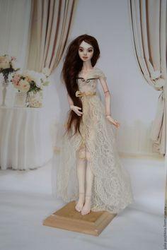 Купить Шарнирная кукла из фарфора Мила - бежевый, шарнирная кукла, пучкина юлия куклы