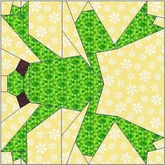 All stitches - frog paper piecing quilt block pattern . Paper Pieced Quilt Patterns, Quilt Block Patterns, Patchwork Quilting, Pattern Blocks, Quilt Blocks, Paper Patterns, Dog Quilts, Animal Quilts, Mini Quilts