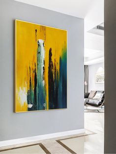 Original Yellow Abstract Painting,Large Abstract Art,Abstract Painting,Blue Abst.
