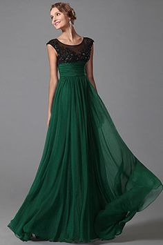 Stunning Green Cap Sleeves Evening Dress Prom Gown (00152704)