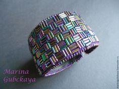 Купить ультрафиолет - темно-фиолетовый, фиолетовый, браслет из бисера, ВЕЧЕРИНКА, фактура, лето, готика