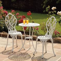 Beautiful This Tulip Cast Bistro Set Will Add An Elegant Touch To Any Garden Or Patio. Pictures