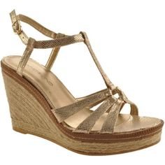 Special Offers Available Click Image Above: Bandolino Kahari (women's) - Gold Fabric Gold Wedge Heels, Gold Wedges, Beautiful Sandals, Gold Fabric, T Strap, Shoes Online, Buy Now, Espadrilles, My Style