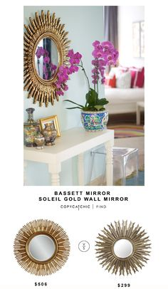Houzz Bassett Mirror Soleil Gold Wall Mirror $506 vs @zgallerie Avila Mirror $299 | Copy Cat Chic look for less