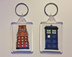 #Cross #stitched keyrings - set of 2 - tardis and #dalek - handmade - doctor who ,  View more on the LINK: 	http://www.zeppy.io/product/gb/2/321875639559/