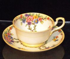 PARAGON FINE BONE CHINA CABINET CUP & SAUCER DUO X1443  PATTERN 1933 -1934 MARK