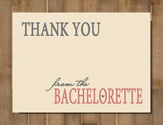 Bachelorette Party Thank You Cards -- PRINTABLE, CUSTOM, Simplistic