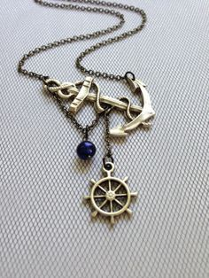 Lost at Sea Necklace by SBC Silver Plated Anchor Blue Freshwater Pearl Ship Wheel Gunmetal Chain Made to Order