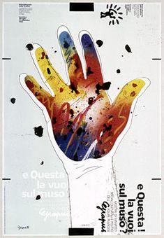 Dessin de Grapus. Citiemme (fotolito). Stamperia Artistica Nazionale (stampa)]. Torino : Citiemme - Stamperia Artistica Nazionale, 1984. 68 X 48 cm, imprimé coul., signée et datée en bas à gauche. Graphic Design Posters, Graphic Design Inspiration, Graphic Art, Poster Designs, Poster Ads, Typography Poster, Poster Prints, Digital Illustration, Graphic Illustration