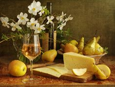 wine and cheese images | ... pear, photo, photography, pretty, spring, still life, white wine, wine