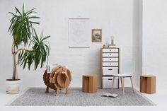 cardboard furniture and carton sheep for books