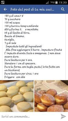 Krapfen ...  ricetta Beignets, Italian Pastries, Italian Recipes, Nutella, Sweet Recipes, Yummy Treats, Bakery, Food And Drink, Cooking Recipes