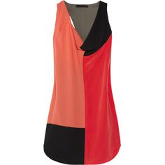 Alexander Wang Color-block silk crepe de chine dress ($230) ❤ liked on Polyvore