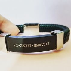 You will love this genuine black leather custom engraved bracelet! The leather band is braided and very comfortable to the touch. Mens Engraved Bracelets, Engraved Jewelry, Engraved Necklace, Bracelets For Men, Girls Jewelry Box, Bridal Jewelry Sets, Golden Jewelry, Sterling Silver Jewelry, Harry Potter Jewelry