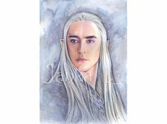 Original Painting - Portrait of the Elven King, elf fantasy, grey portrait, signed art, watercolours and coloured pencils, fantasy art
