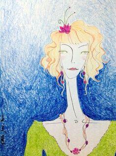 Flor no cabelo - Moleskine - caneta fine line e lápis aquarela  #tapiocacomlimao #arte #ilustração #design #desenho