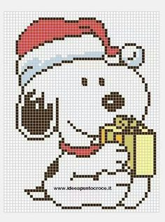 Snoopy Christmas pattern by on DeviantArt Snoopy Christmas, Christmas Cross, Cross Stitch Charts, Cross Stitch Patterns, Cross Stitching, Cross Stitch Embroidery, Pixel Art, Stitch Cartoon, Snoopy And Woodstock