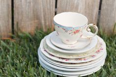 Romantic Shabby Chic Tea Party. Tea cup and plates detail shot