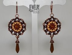 Návod zdarma - Free tutorial Rivoli Swarovski, es-O Beads O Beads, Swarovski, Clock, Drop Earrings, Jewelry, Decor, Flowers, Fimo, Beading