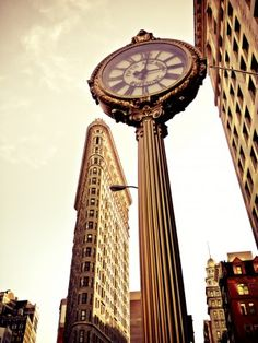 The Flatiron Building and Fifth Avenue Building Clock