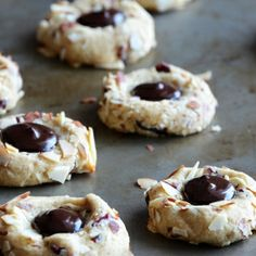 Cranberry-Chocolate-Almond Thumbprint Cookies
