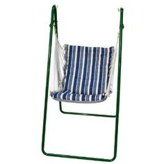 Algoma Swing Chair And Stand Combination, Polar Blue Stripe, Green Stand  *** Discover This Special Product, Click The Image : Camping Furniture