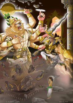Hare Krishna everyone, Finally, after very long hours of digital painting, the final image has surfaced for your pleasure. Digi Paint: Narasimha Pillar Break Part 1 Krishna Leela, Krishna Art, Indian Art Gallery, Shri Hanuman, Durga, Lord Vishnu Wallpapers, Lord Shiva Painting, Lord Krishna Images, Krishna Wallpaper