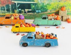Blue Tootsie Toy Truck Magnet Pumpkins Hay Leaves / by TheBlueRam